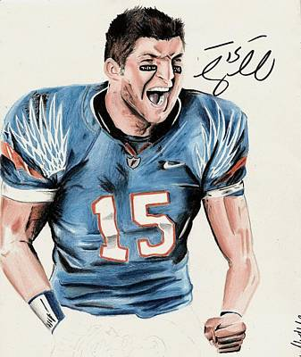 Tim Tebow Drawing - Play To Win by Jenna McMullins