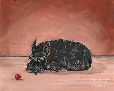 Scottish Dog Painting - Play With Me by Margaryta Yermolayeva