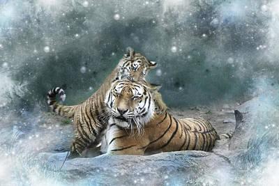 Tiger Digital Art - Play With Me Mum by Julie L Hoddinott
