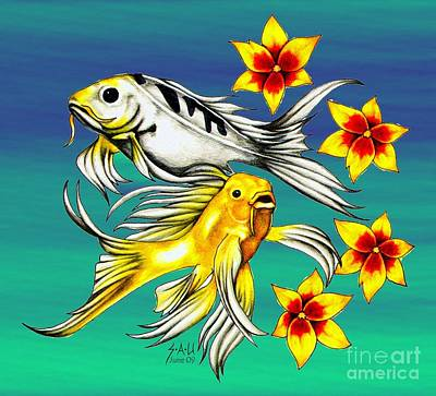 Koi Drawing - Playful Koi by Sheryl Unwin