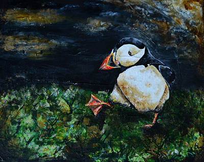 Puffin Mixed Media - Playful Puffin by Sonya Bitz