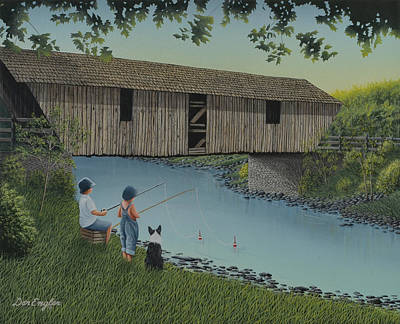 Covered Bridge Painting - Playin' Hooky by Don Engler