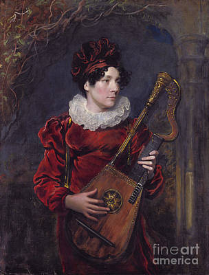 Playing A Harp Lute Print by Celestial Images