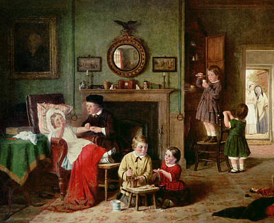 Playing At Doctors Print by Frederick Daniel Hardy