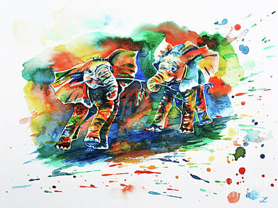 India Wildlife Painting - Playing Elephant Babies  by Zaira Dzhaubaeva