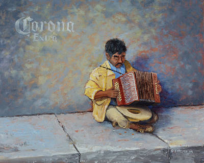 Beer Oil Painting - Playing For Pesos by Jerry McElroy