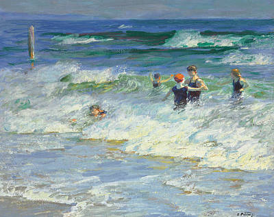 Spray Painting - Playing In The Surf by Edward Henry Potthast