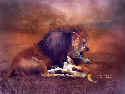Lion Art Mixed Media - Playing With Dad by Carol Cavalaris