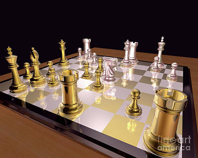 Chess Photograph - Playing With Silver And Gold by Lori Lejeune