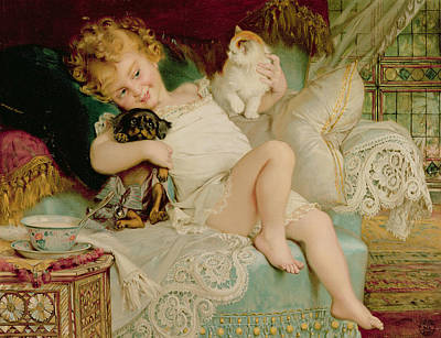 Cats. Victorian Painting - Playmates by Emile Munier