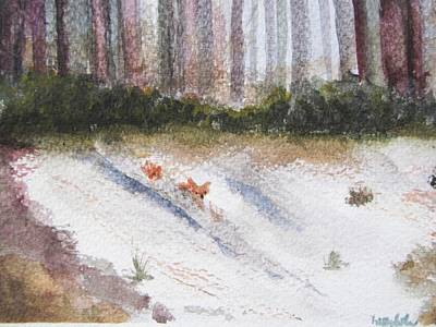 Snowscape Painting - Playtime by Trilby Cole