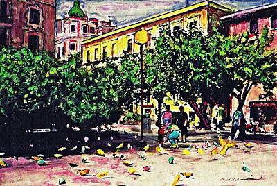 Pigeon Mixed Media - Plaza In Murcia by Sarah Loft