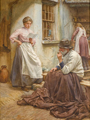 Drawing - Pleasant News by Walter Langley