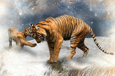 Tiger Digital Art - Please Mamma Dont Cry by Julie L Hoddinott
