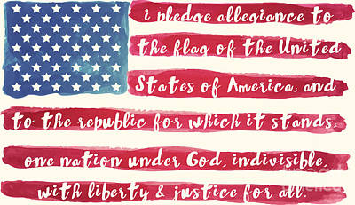 Red White And Blue Painting - Pledge Of Allegiance American Flag by Mindy Sommers
