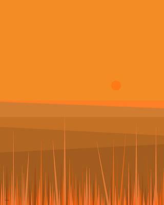 Minimalist Landscape Digital Art - Plowed Fields by Val Arie