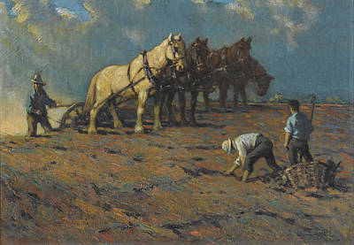 Painting - Plowing by Lawrence Carmichael Earle
