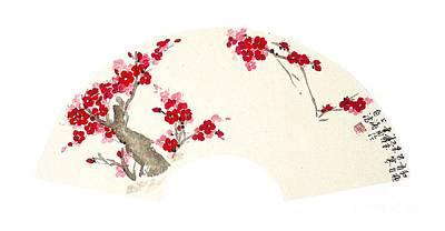 Fruit Tree Art Painting - Plum Blossom In Fan - Transparent by Birgit Moldenhauer