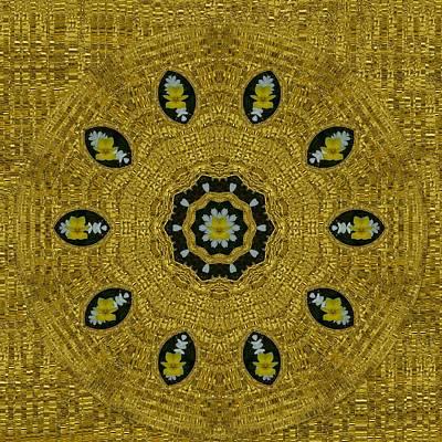 Plumerias In Golden Environment Print by Pepita Selles