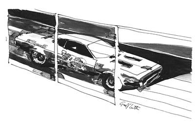 Roadrunner Drawing - Plymouth Roadrunner On The Banking  by Geoff Latter