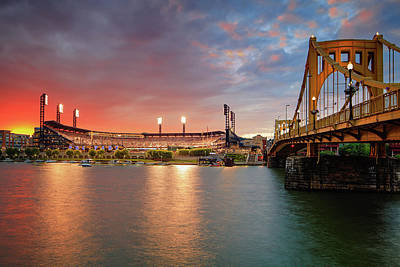 Pnc Park At Sunset Print by Emmanuel Panagiotakis