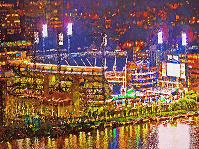 Pnc Park On A Light Up Night Print by Digital Photographic Arts