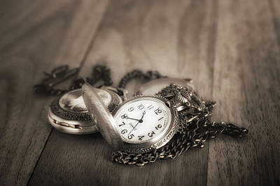 Mechanical Photograph - Pocket Watches Times Three by Tom Mc Nemar