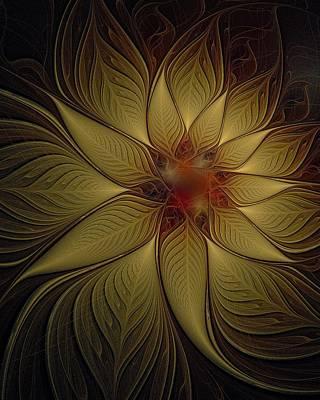 Framed Art Digital Art - Poinsettia In Gold by Amanda Moore