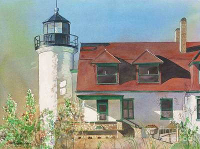 Waterscape Painting - Point Betsie Lighthouse by LeAnne Sowa