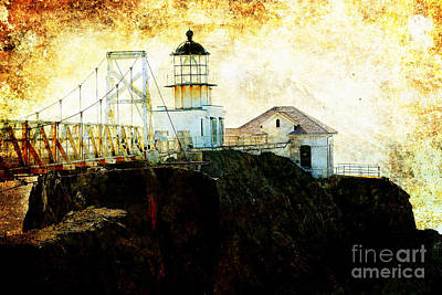 Bonita Point Photograph - Point Bonitas Lighthouse . Texture by Wingsdomain Art and Photography