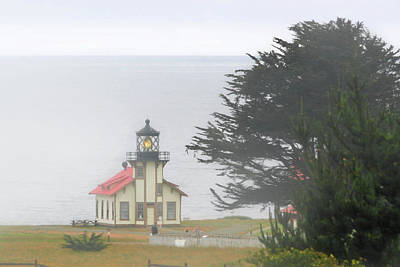 Point Cabrillo Light Station Ca - Lighthouse In Damp Costal Fog Print by Christine Till