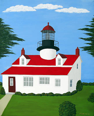 Historic Lighthouse Images Painting - Point Pinos Lighthouse by Frederic Kohli