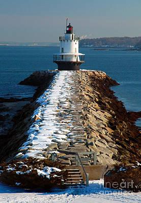 Point Spring Ledge Light - Lighthouse Seascape Landscape Rocky Coast Maine Print by Jon Holiday