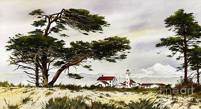 Point Wilson Lighthouse Shore Print by James Williamson