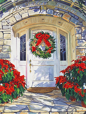 Pointsettia House Print by David Lloyd Glover