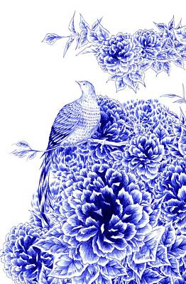 Bluebird Drawing - Poise by Alice Chen