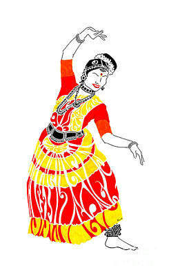 Indian Dance Drawing - Poise by Anushree Santhosh