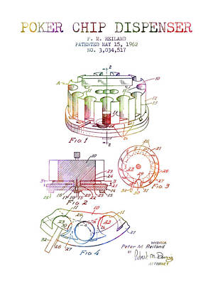 Straight Digital Art - Poker Chip Dispenser Patent From 1962 - Rainbow by Aged Pixel