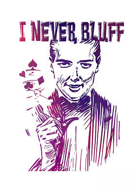 Poker Digital Art - Poker - I Never Bluff - Purple by Justyna JBJart