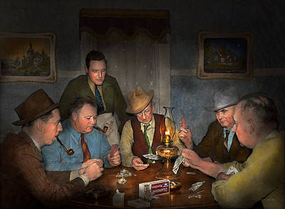 Night Out Photograph - Poker - Poker Face 1939 by Mike Savad