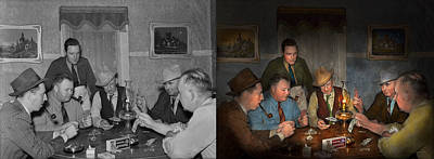 Night Out Photograph - Poker - Poker Face 1939 - Side By Side by Mike Savad