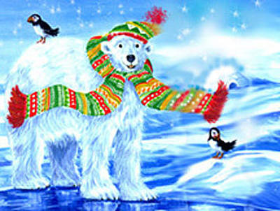 Puffin Mixed Media - Polar Bear Christmas by Linda Crockett