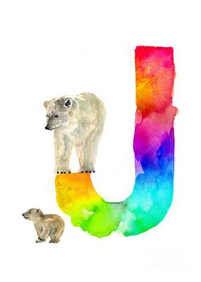 Bear Mixed Media - Polar Bear Watercolor Alphabet Poster by Joanna Szmerdt