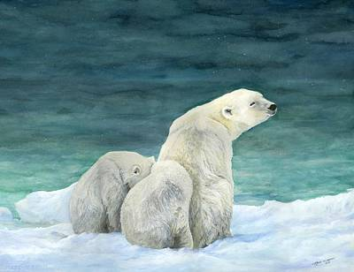 Arctic Mixed Media - Polar Bears By The Sea by Nonie Wideman