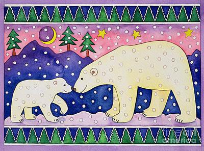 Christmas Cards Painting - Polar Bears by Cathy Baxter