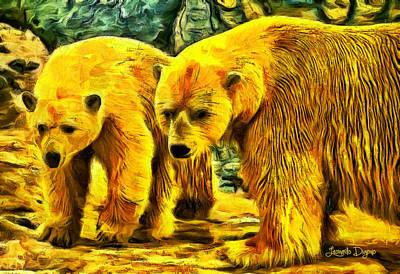 Eye Digital Art - Polar Bears - Da by Leonardo Digenio