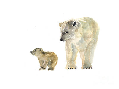 Polar Bears Watercolor Art Print Painting  Print by Joanna Szmerdt
