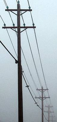Two Piece Photograph - Poles In Fog - View On Left by Tony Grider