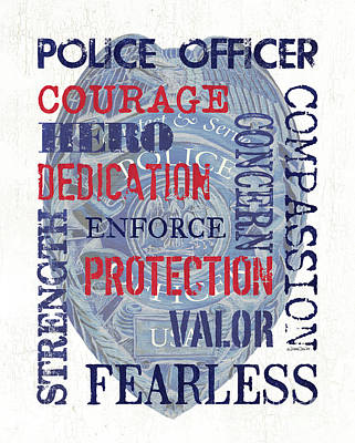 Badge Painting - Police Inspirational 1 by Debbie DeWitt