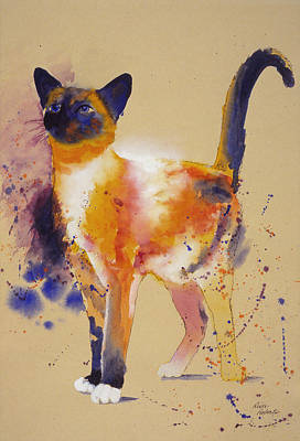 Cat Painting - Pollocks White Cat by Eve Riser Roberts